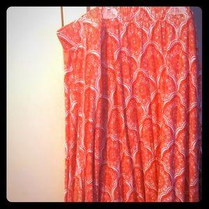 Orange and white scalloped maxi skirt